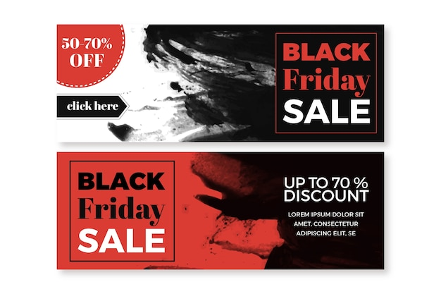 Watercolor stain black friday banners template