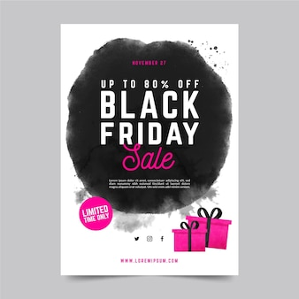 Watercolor stain black friday flyer template