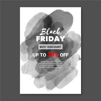 Modello di volantino del venerdì nero macchia dell'acquerello