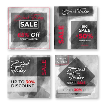 Watercolor stain black friday instagram posts set