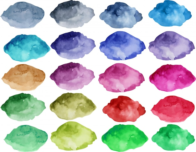 Watercolor stain collection, bright color elements