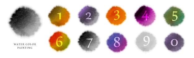 수채화 얼룩 배경 및 숫자 세트
