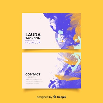 Watercolor stains business card template