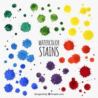 Raccolta di macchie di acquerello in diversi colori