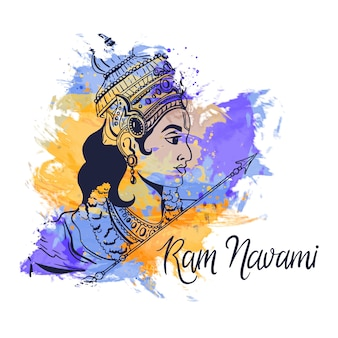 Watercolor stains design with ram navami