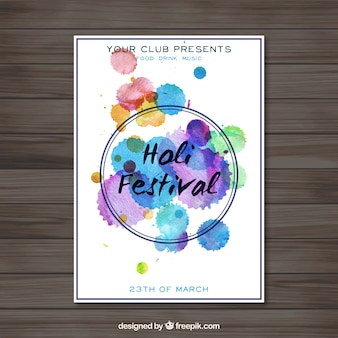 水彩汚れホーリー祭のポスター