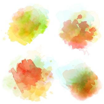 白に分離された水彩の汚れセット