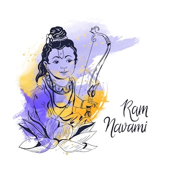 Watercolor stains style with ram navami