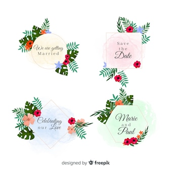 Watercolor stains wedding badge collection