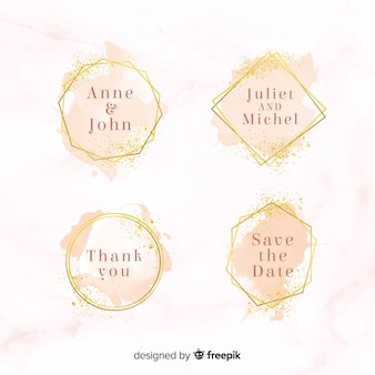Watercolor stains wedding badges collection Free Vector
