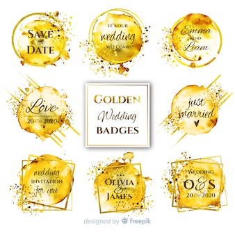 Watercolor stains wedding badges collection