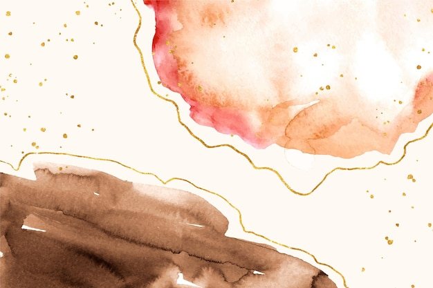 Watercolor stains with golden elements