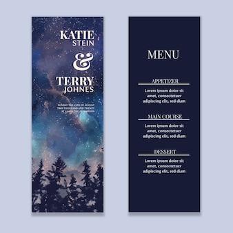 Watercolor starry sky wedding menu