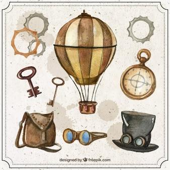 Elementi acquerello steampunk impostati