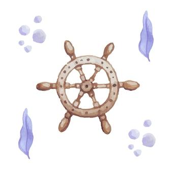 Акварель штурвал корабля