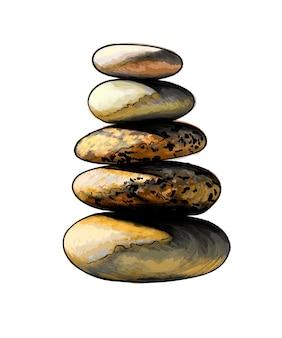 수채화 돌 탑, 화이트에 균형 잡힌 피라미드 돌