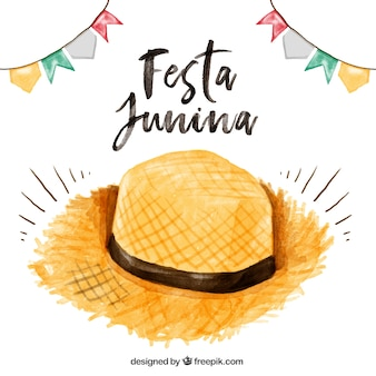 Watercolor straw hat festa junina background