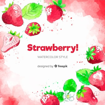 Watercolor strawberries background
