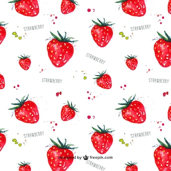 Watercolor strawberries pattern