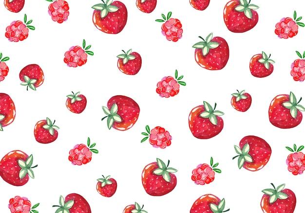 水彩のイチゴとラズベリーの背景
