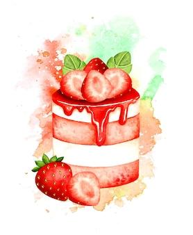 水彩ストロベリーケーキ