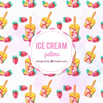 Watercolor strawberry ice cream pattern background