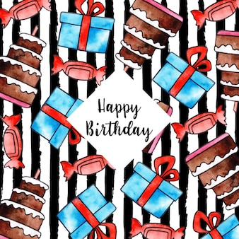 Watercolor strip birthday background