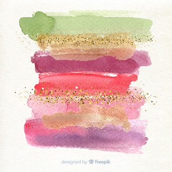 Watercolor stripes with glitter background
