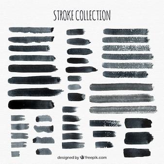 Watercolor strokes collection in black color