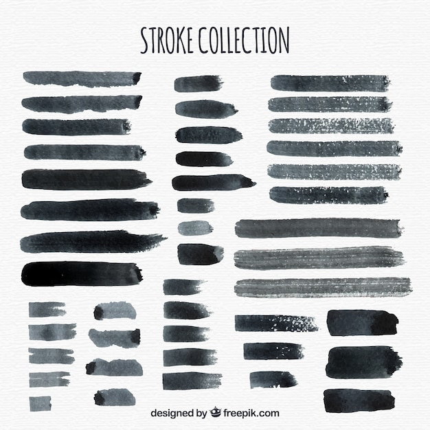 Free Watercolor Strokes Collection In Black Color Vector Free Design Svg Free Cricut And Silhouette Cut Files