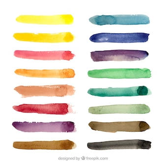 Watercolor strokes collection with many colors