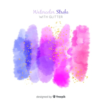 Watercolor strokes with glitter