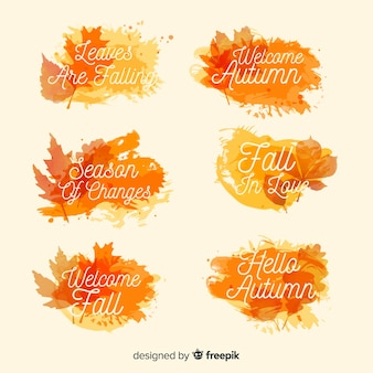 Watercolor style autumn badge collection