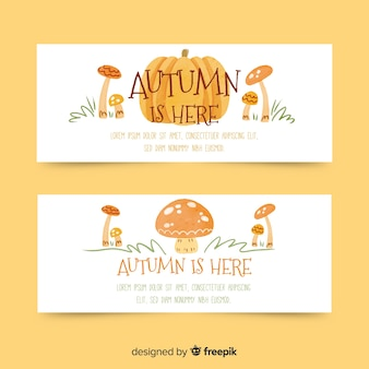 Watercolor style autumn banners template