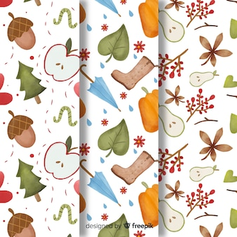 Watercolor style autumn pattern collection
