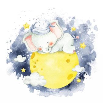 Watercolor style baby elephant sleeping on the moon