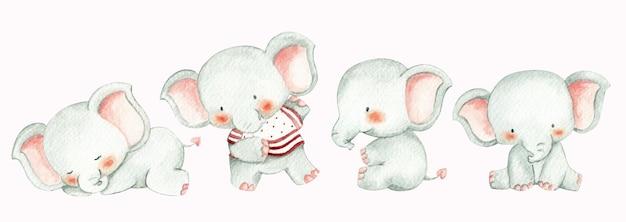 Watercolor style baby elephants