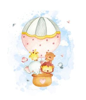 気球の水彩風の赤ちゃんジャングルの動物