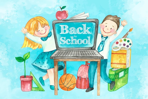 Watercolor style back to school background