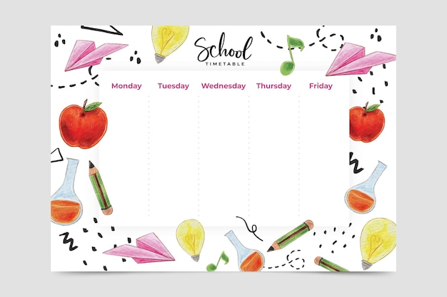 Watercolor style back to school timetable