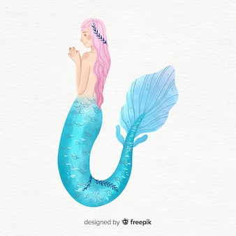 Watercolor style beautiful mermaid portrait
