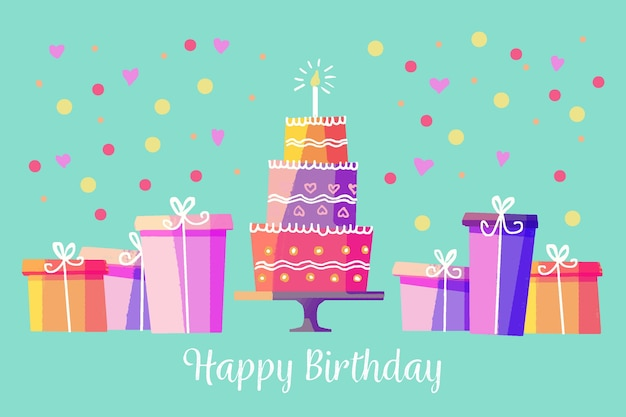 Watercolor style birthday background