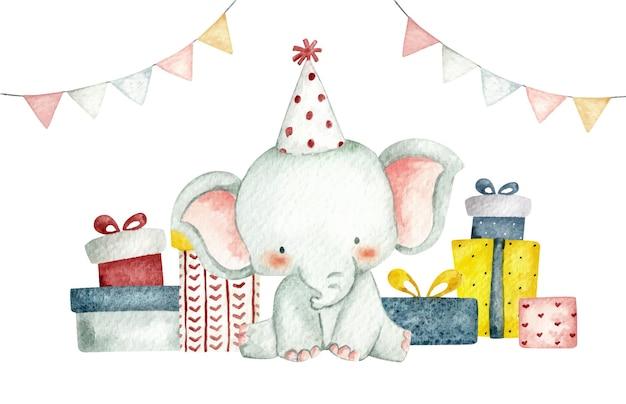 Слон на день рождения в акварельном стиле с подарками