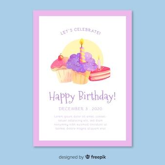 Watercolor style birthday invitation template