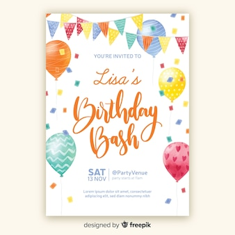 Watercolor style birthday invitation template