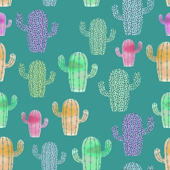 Watercolor style of cactus pattern