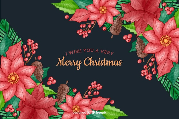 Watercolor style christmas background with flowers
