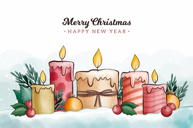 Watercolor style christmas candle background