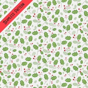 水彩風のクリスマスの葉とベリーのシームレスなパターン