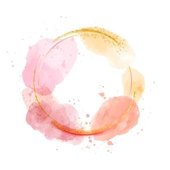 Круглая золотая рамка в акварельном стиле